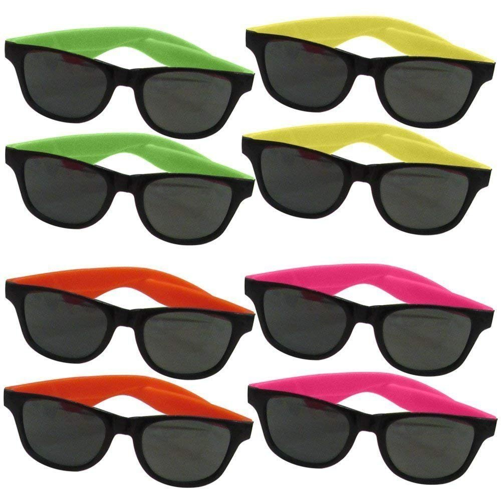 12 Pairs of Neon Long Lasting 5 1/2 Inch 80's Retro Vintage Party Eyewear ,Shades ,Sunglasses For Adults By Dazzling Toys