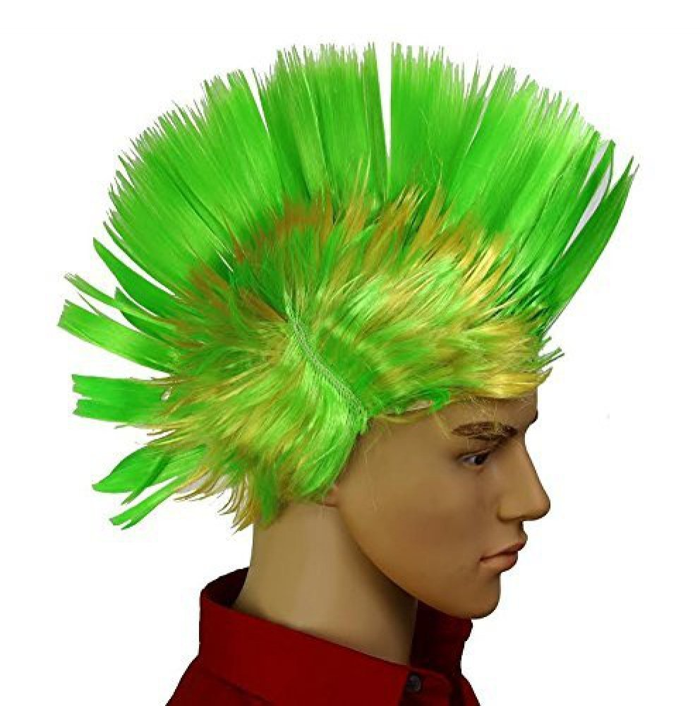 Dazzling Toys Wiggling Punk Blinking LED, Green and Colored Wig. One per pack.