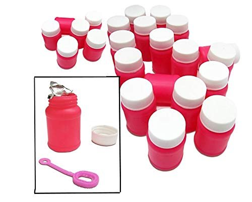 Mini Hot Pink Bubble Blower 24 Pack - Includes Solution and Wand - Bubble Blowing Party Favor Set of 24 Toys for Birthday | Graduation | Beach | Park | Swimming Pool Toy - Children 3 Years and Up