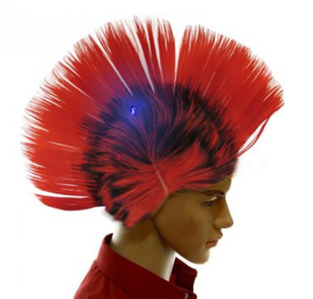 Dazzling Toys Wiggling Punk Blinking LED, Red and Colored Wig. One per pack.