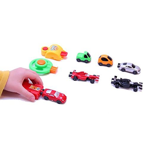 Dazzling Toys Racing Car Toy Set - Set Includes: 6 Assorted Colors and Styles Racer Cars and 3 Pushers