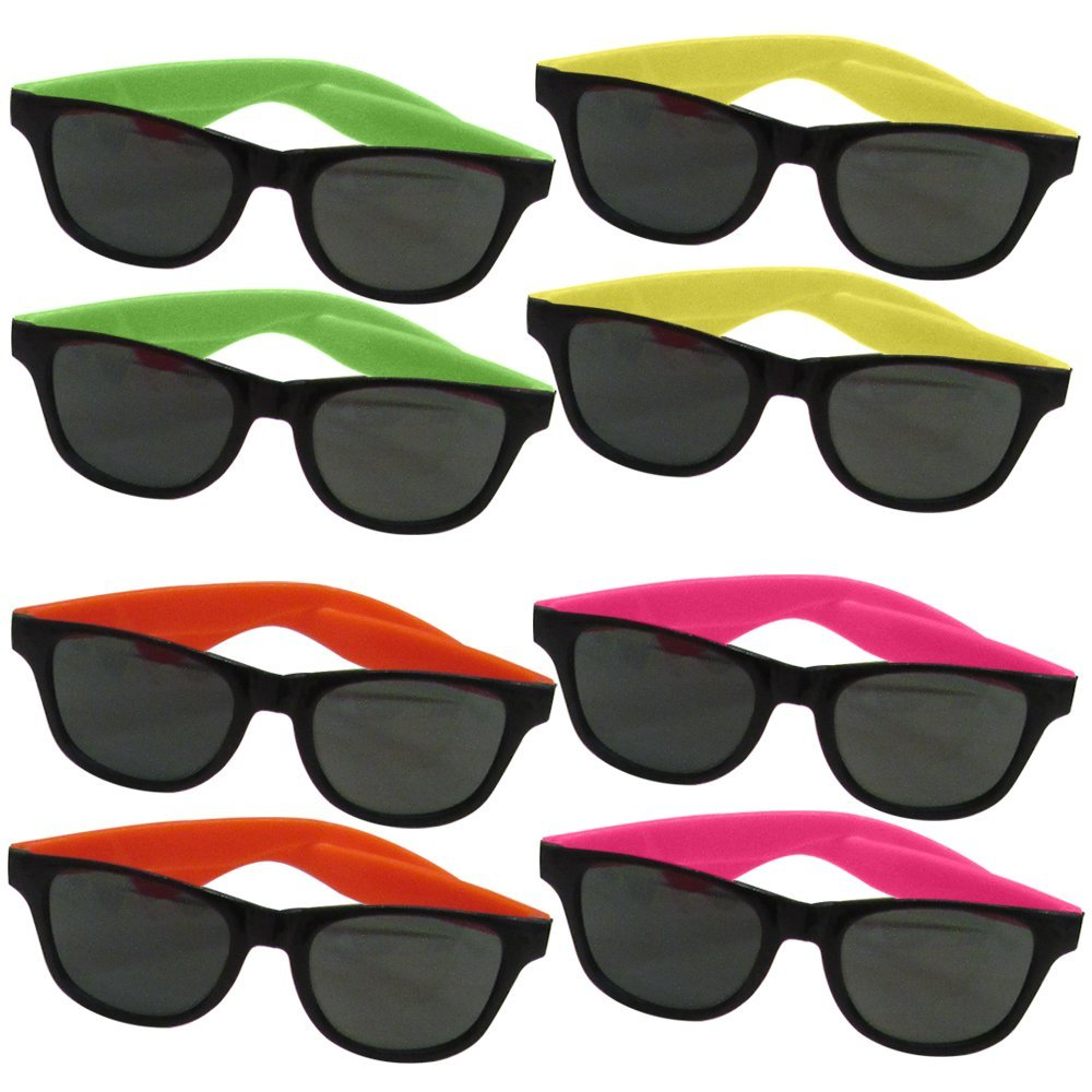 dazzling toys 12 Pairs Of Neon Long Lasting 80's Retro Vintage Party Eyewear,Shades,Sunglasses For Children By