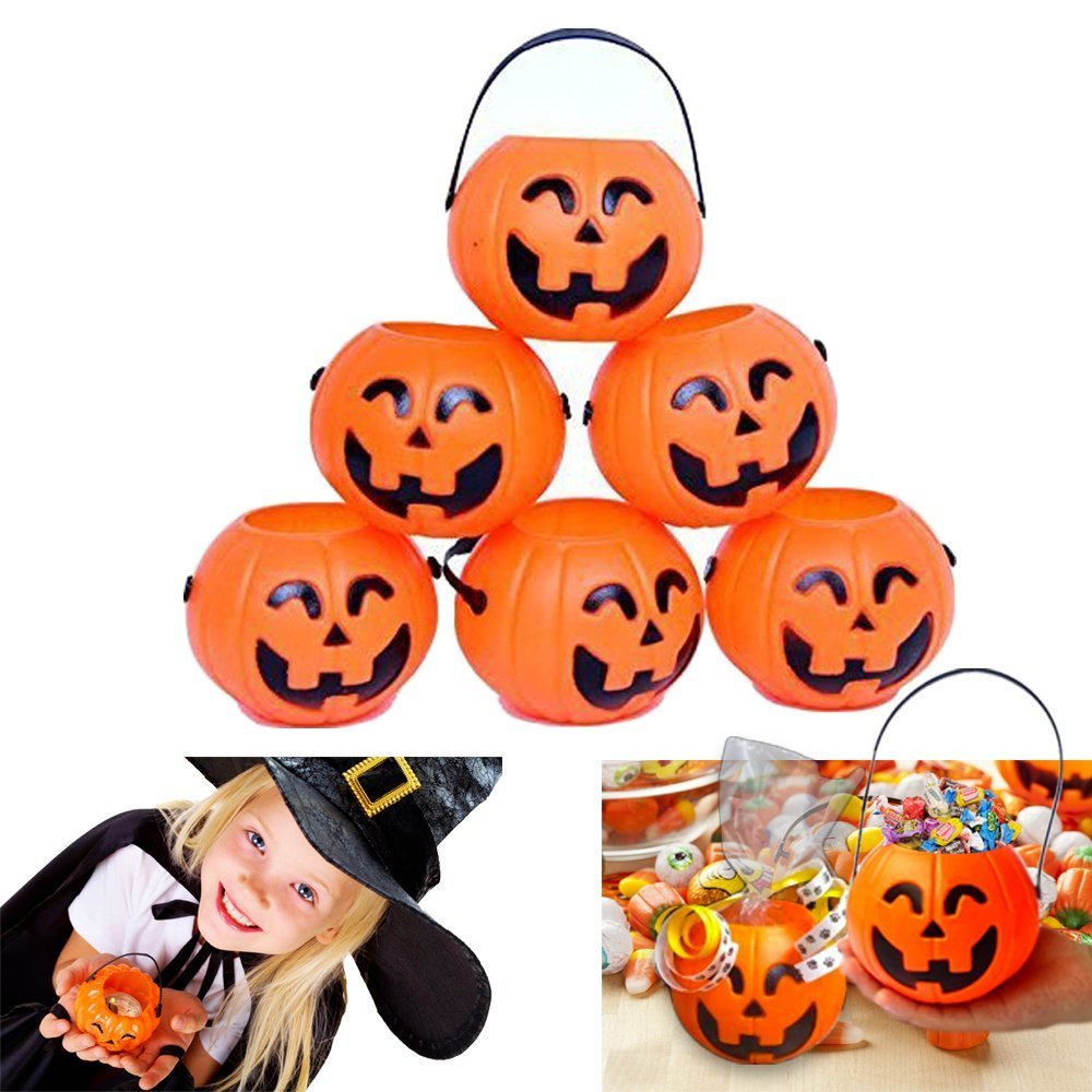 dazzling toys Pumpkin Candy Holder | 12 Mini Trick treat Halloween Candy Buckets | Family Friendly Halloween Candy Holders