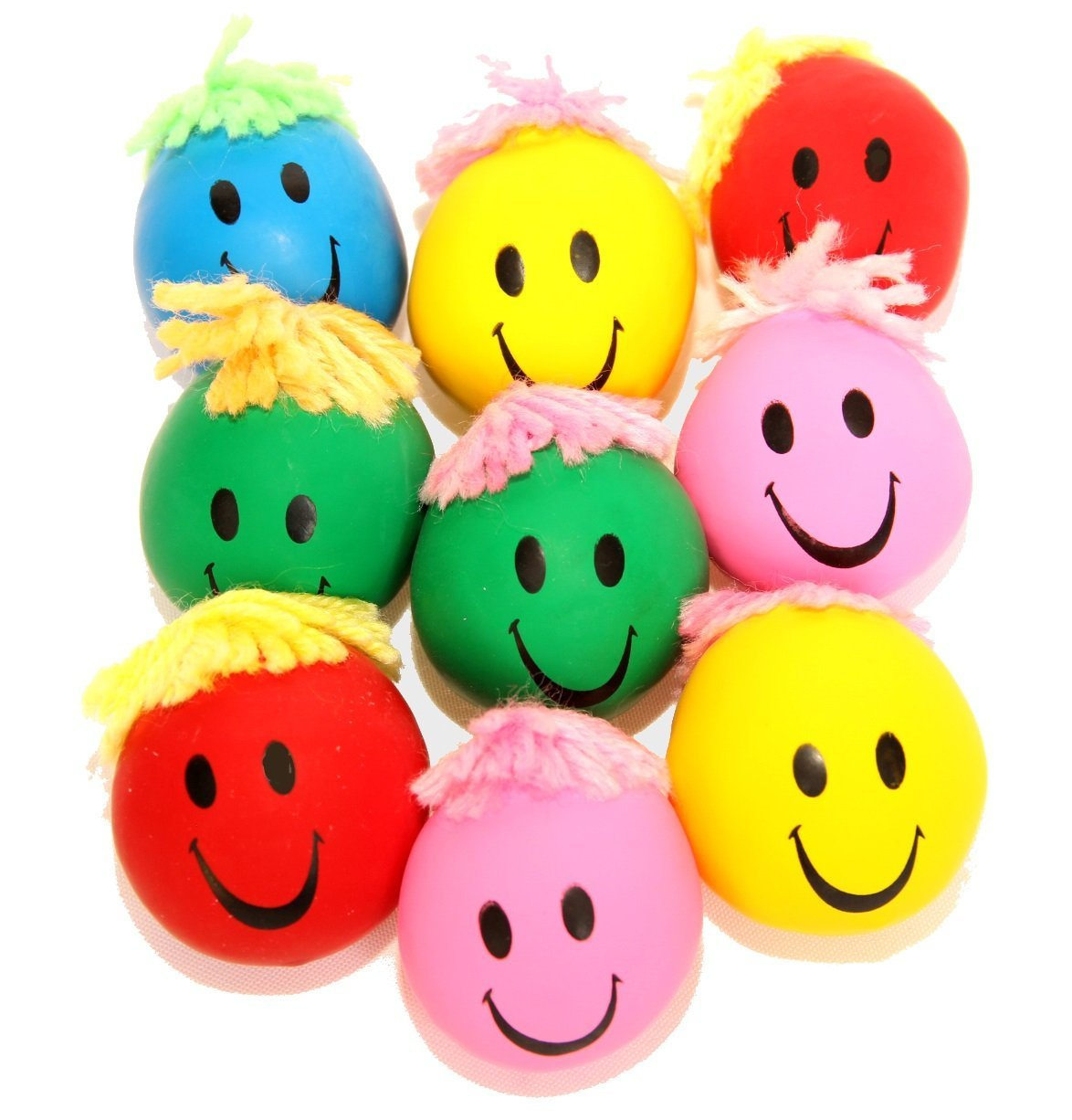 "dazzling toys 24 Pack Stress Balls | 2 Dozen 2"" Inch Neon Smile Face Happy Squeeze and Stress Balls 