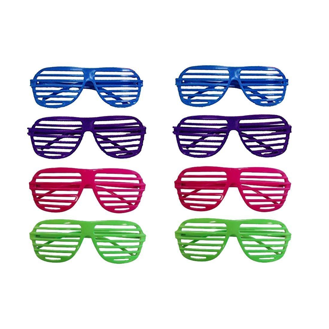 dazzling toys 80's 80's Slotted Toy Sunglasses Party Favors Costume - Pack of 12 - Assorted Colors