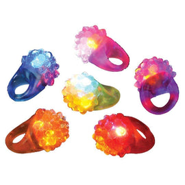Christmas Party Favor Rings | 12 Pack Dazzling Toys Flashing LED Light Up Toys, Bumpy Rings, 1 Dozen