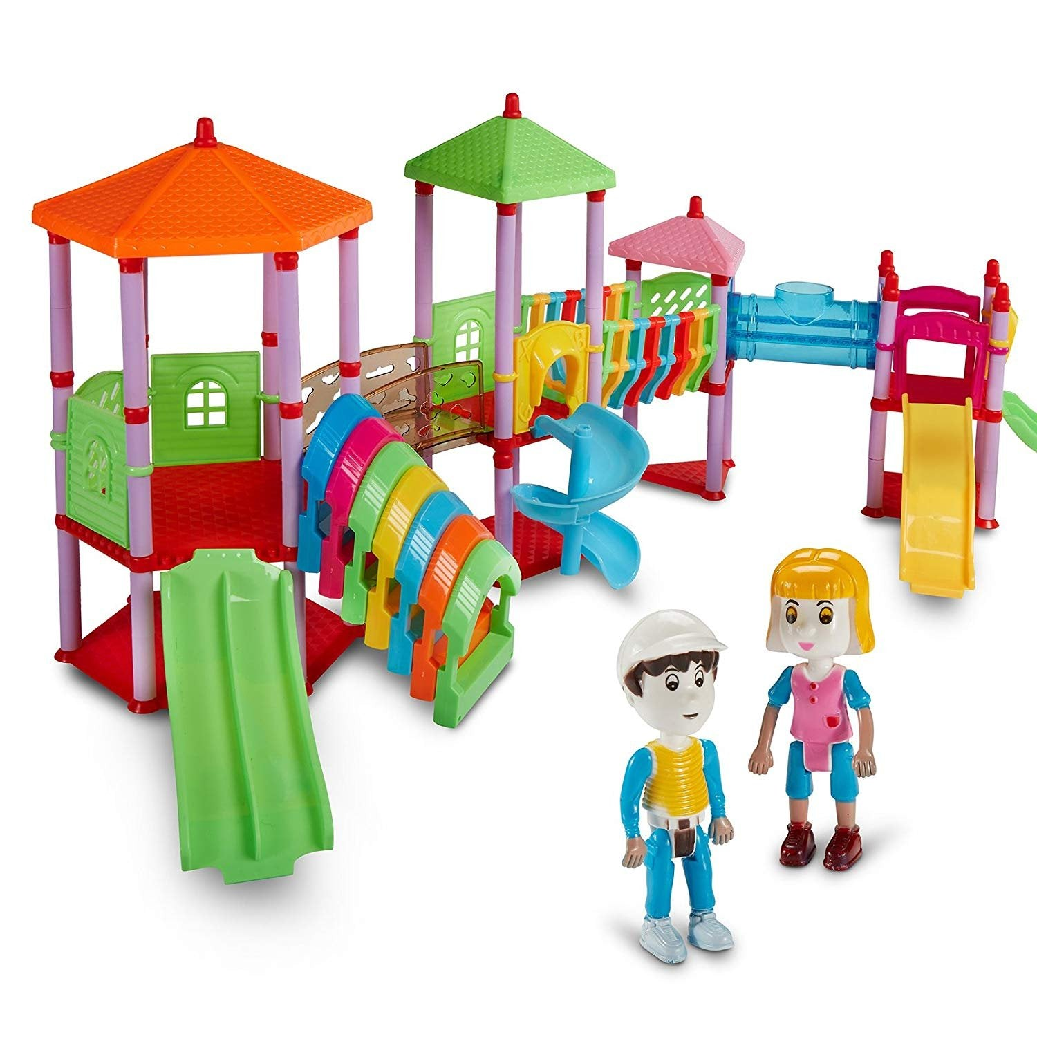 Dazzling Toys 135 Pcs Amusement Park Colorful 2 Figures Assemble Playground Set