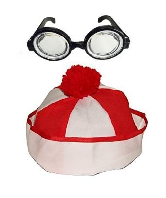 Christmas Hat | Kids Clown or Wheres Waldo Costume Hat with Nerd Glasses Set | Snow Winter Accessory