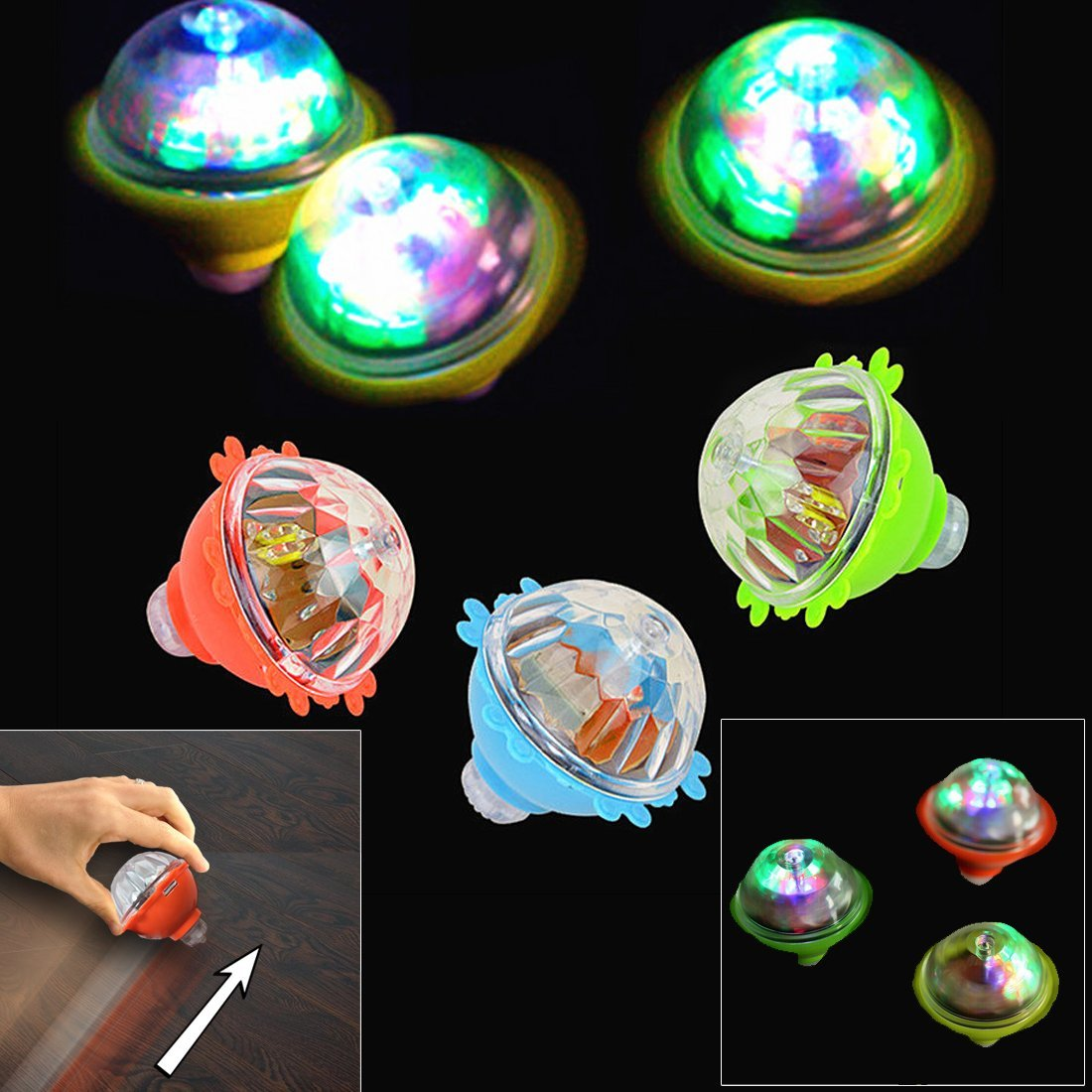 Dazzling Toys 6 Pack Light Up Spinners | LED Light Up Inertia Gyro Peg Top | 6 Pcs | Rotating Flashing Kids Top