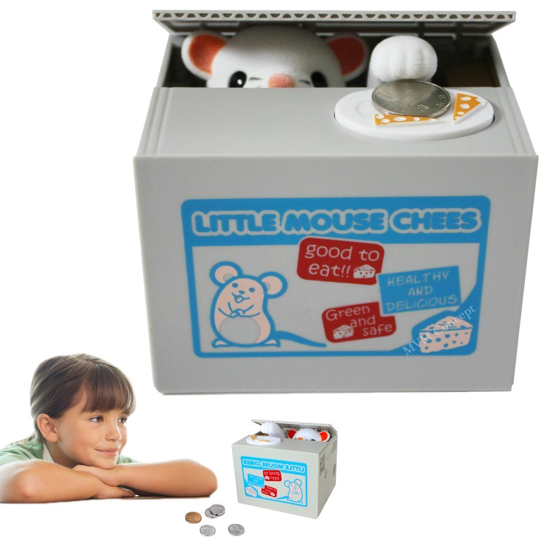 Piggy Bank | Mouse Bank Battery Operated Kids Mouse Stealing Money Saving Bank Box, Great Holiday Idea for Boys and Girls.