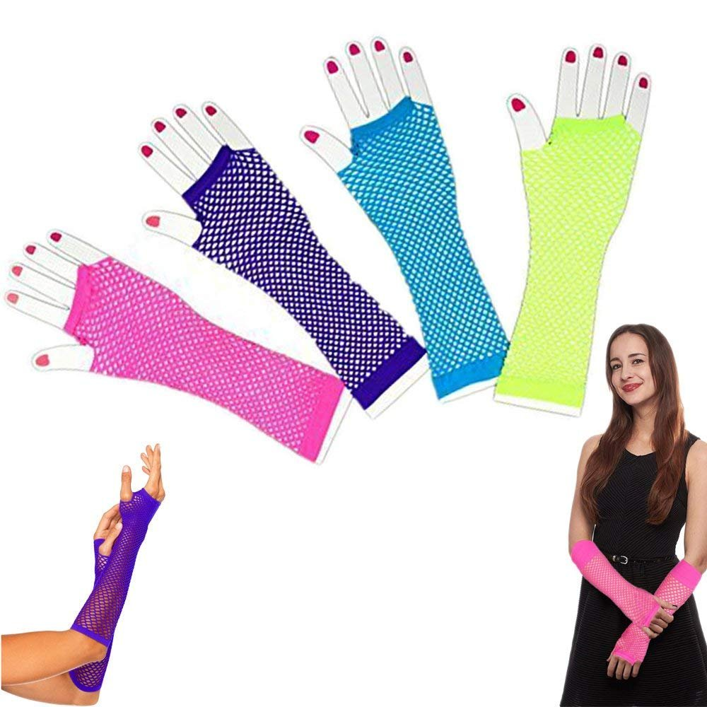 Dazzling Toys Assorted Fingerless Diva Fishnet Wrist Gloves - Long - Pack of 6,Multicolored,Medium