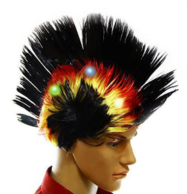 Dazzling Toys Wiggling Punk Blinking LED, Black and Colored Wig. One per pack.
