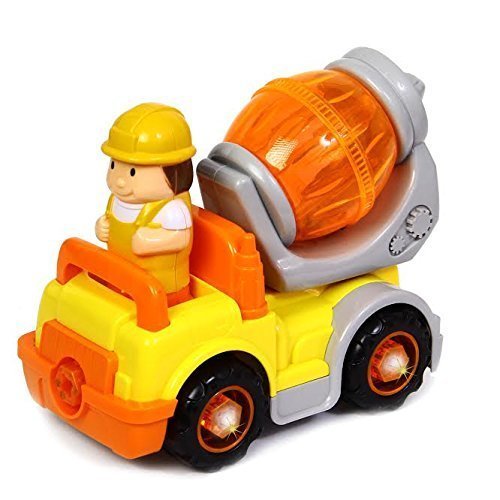 dazzling toys Cement Truck | Take Apart Electric Toy Construction Truck - 6 Piece Assemble Yourself Cement Mixer | Detachable Wheels Flashing Lights & Music
