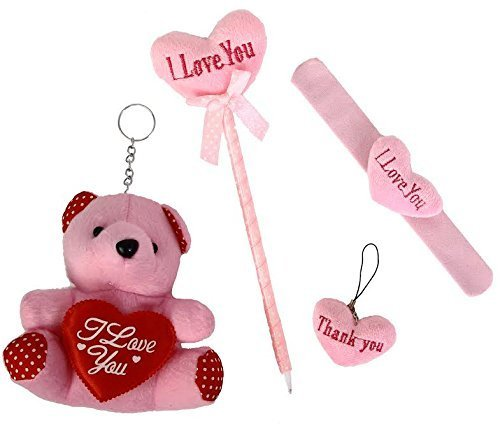"Valentine's Day ""I Love You"" Plush Heart Set Includes A Bear, Pen, Key-chain and A Slap Bracelet"