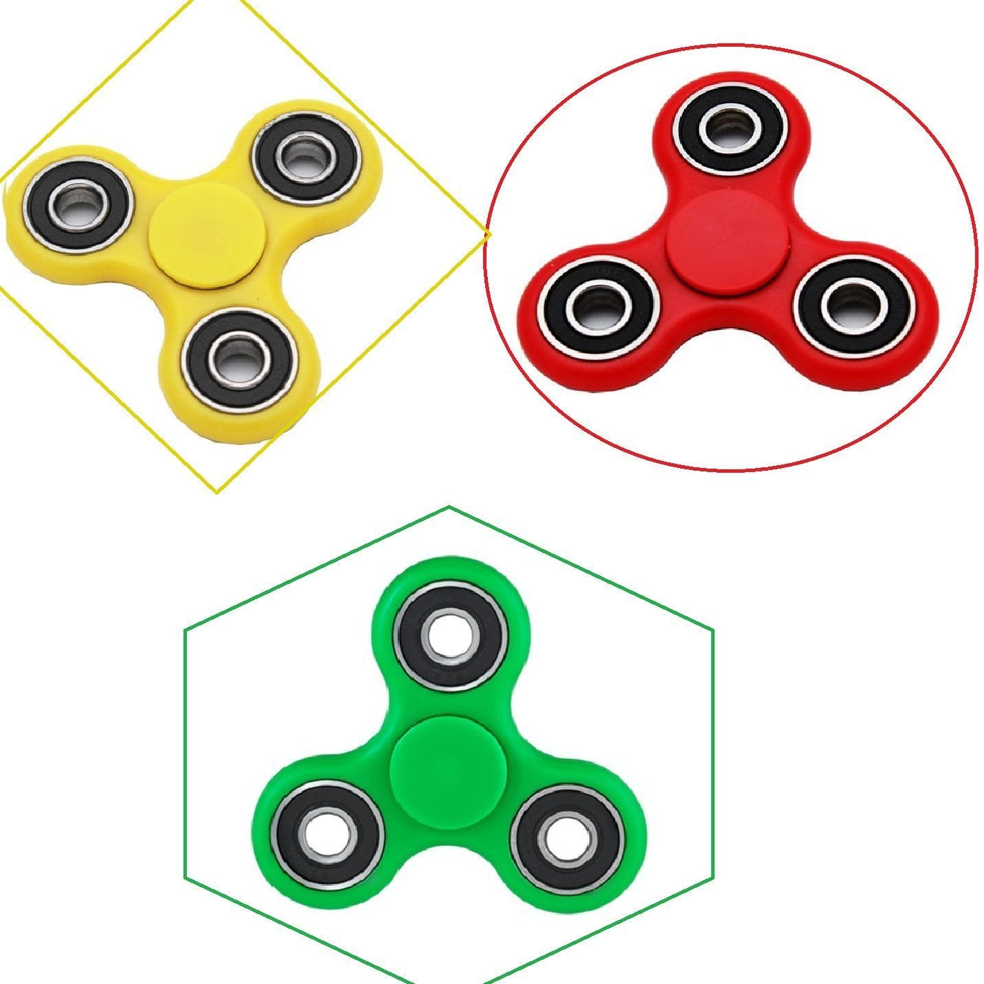 Fidget Spinner Super Set of 3 Spinners per Pack Yellow, Green and Red Stress Relief Relaxation Great Gift Idea for Autism, ADD, ADHD etc.