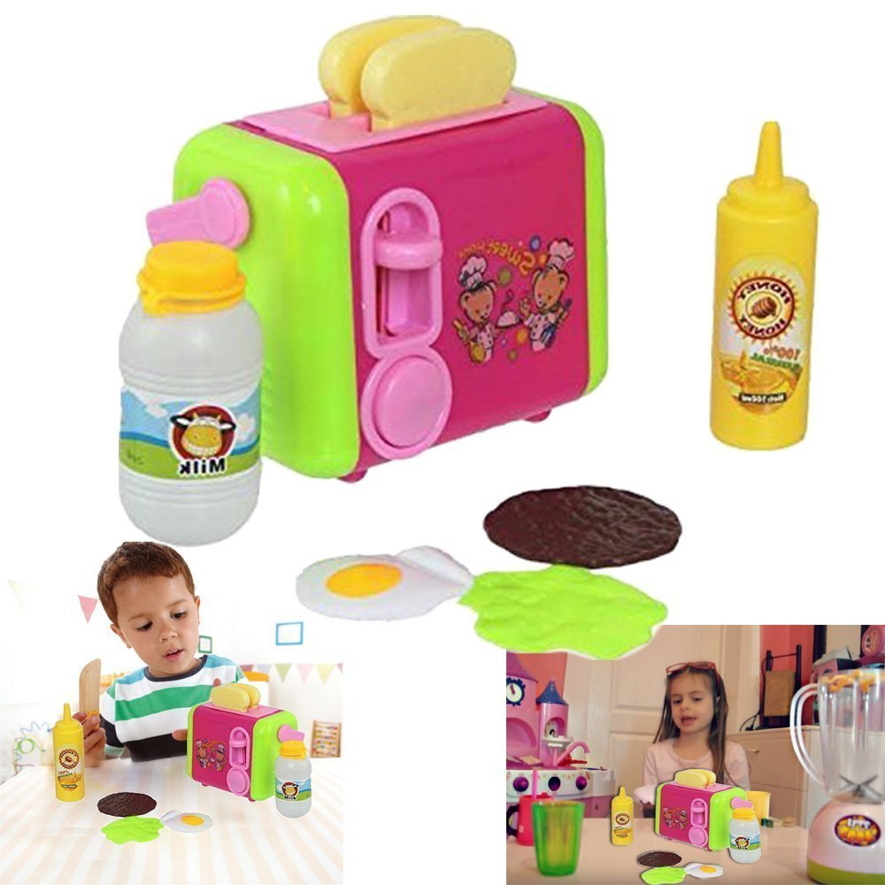 Toy Kitchen Playset Toaster - Bread Slices with Eggs, Milk and Honey Bottles And More 8 Piece Set