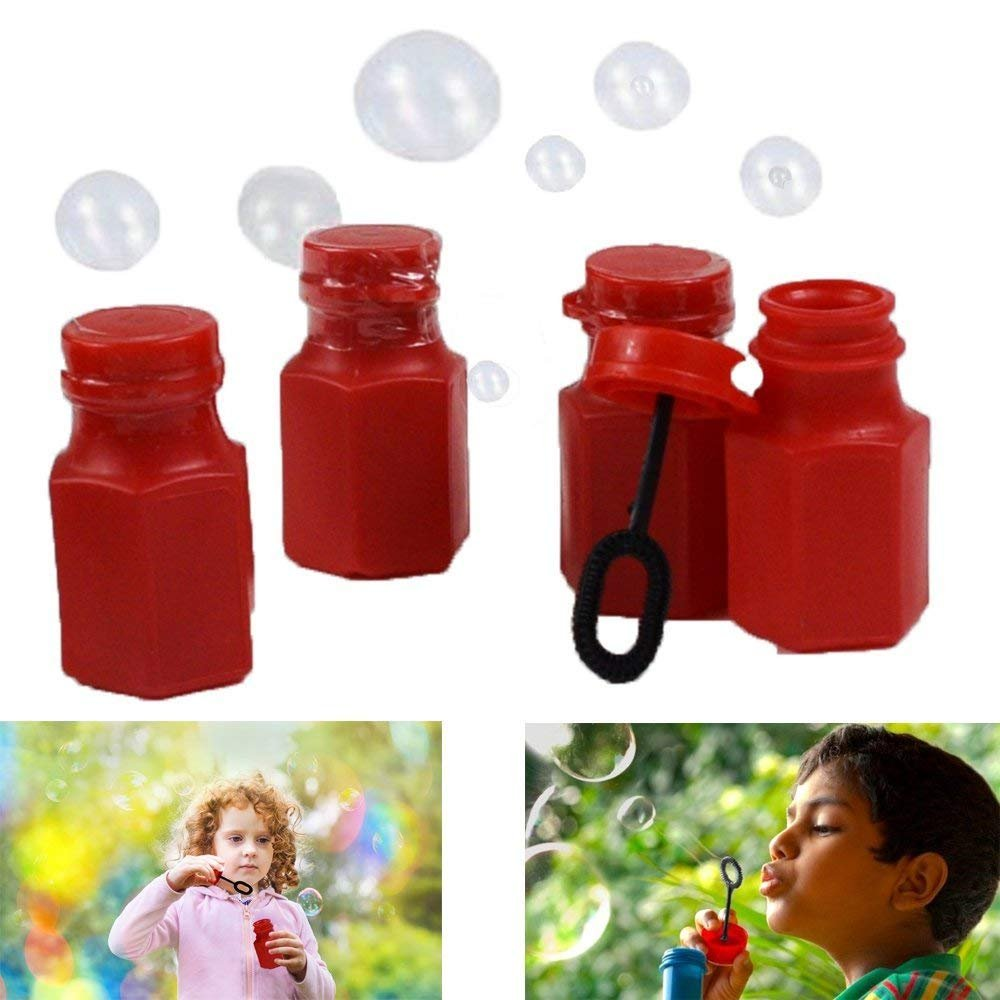 Dazzling Toys Mini Hexagon Red Bubble Bottles - Pack of 48 - Add Some Pop To a Graduation Ceremony Or Bubble Party With These Hexagon Red Bubble Bottles