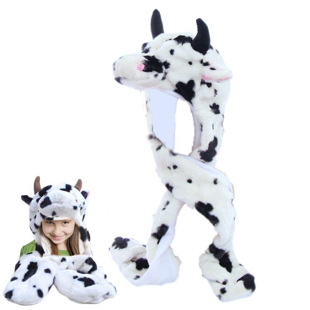 Dazzling Toys Plush Cow Hat with Long Paws Multi-functional Novelty Hoodie Hat