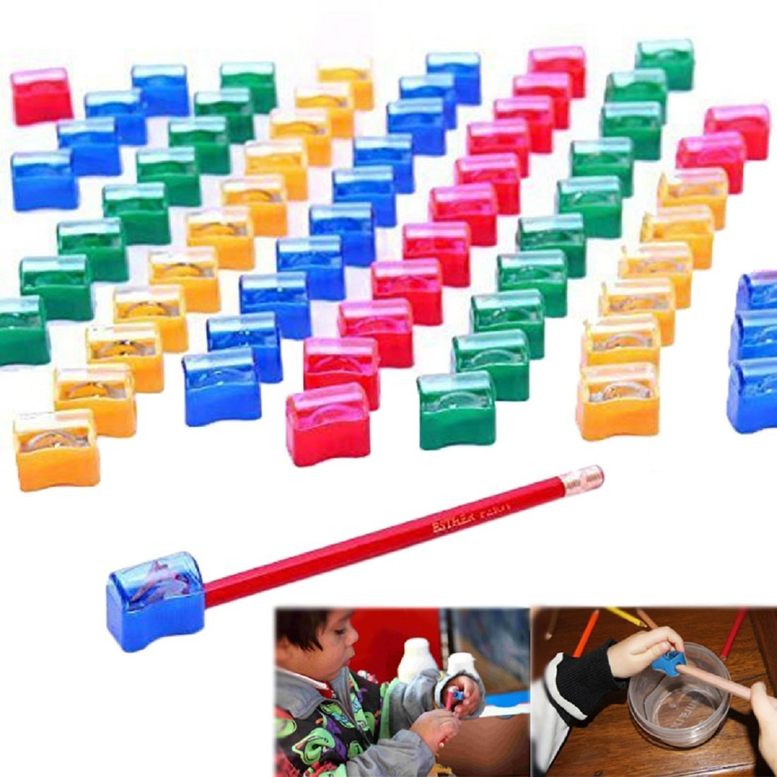 Pencil Sharpeners - Kids Assorted Plastic Pencil Sharpener Set for School and Home 72 Pcs | Multicolored Manual Pencil Sharpeners 72 Pack | Blue, Yellow, Red, Clear, Green, Purple