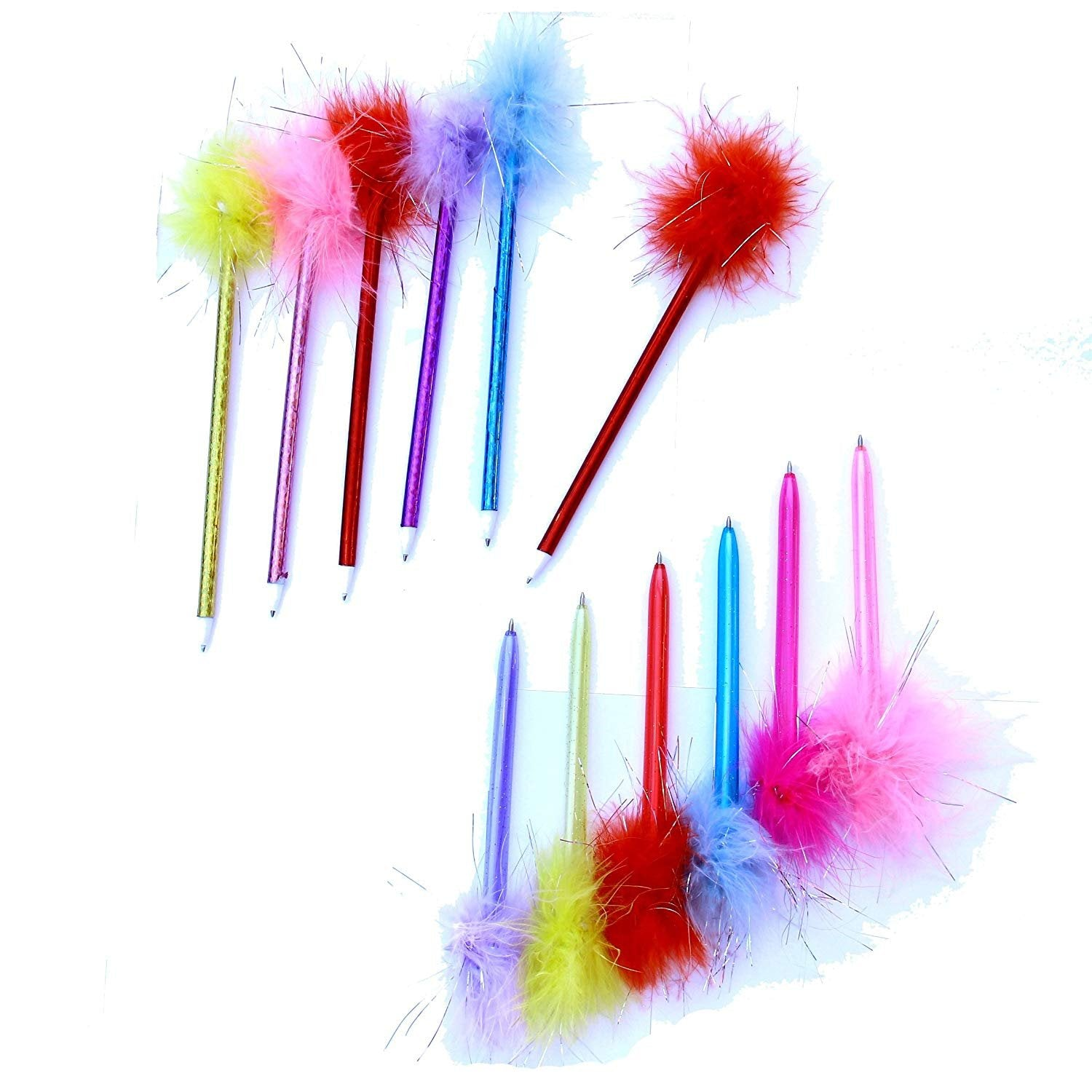 Dazzling Toys Marabou Feather Pens - 1 Dozen, Assorted Colors
