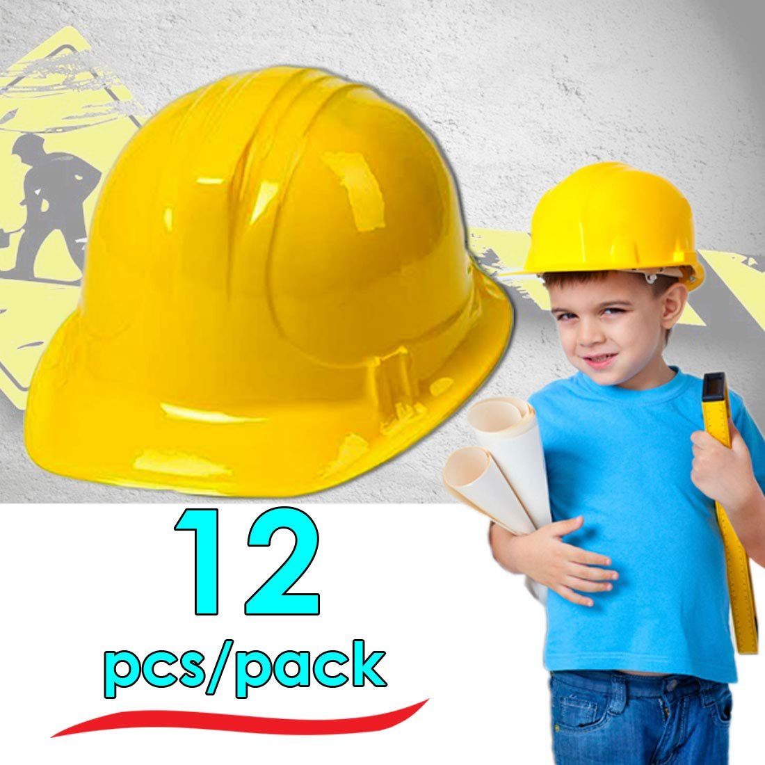 Dazzling Toys Pack of 12 Holiday Construction Hats | Building Supplies Yellow Construction Hat | Accessory for kids Building Projects