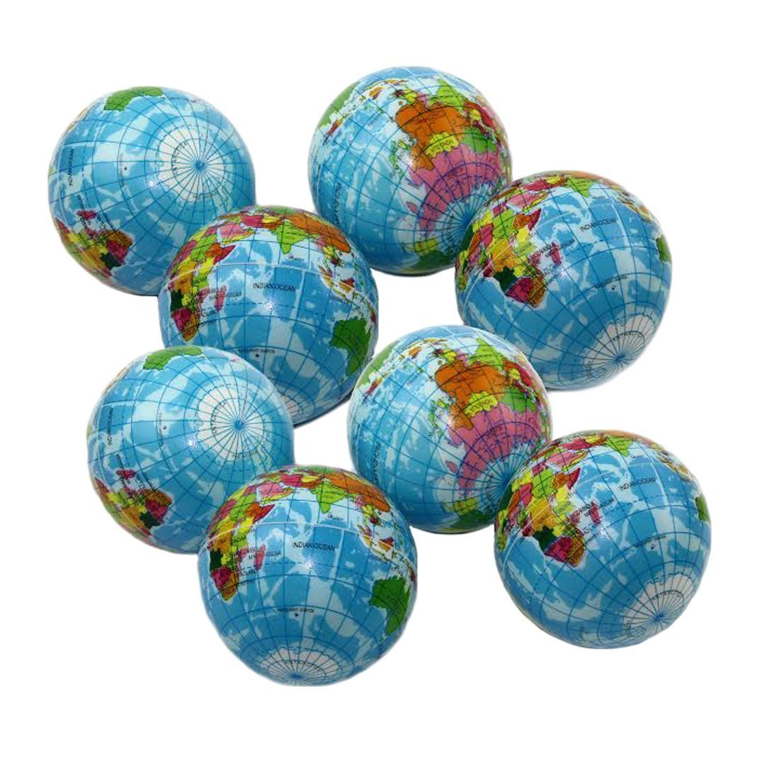 Dazzling Toys Squeezable Stress Ball 12 Pack - Tension Relief Activity Balls Set of 12 - Pressure Relieving Health Balls - Therapeutic Relaxing Squeeze Ball Pack of 12 Globe Pattern Balls