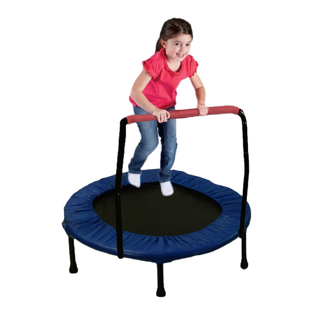 "Mini Exercise Trampoline for Adults And Kids - With Safety Padded Frame- Indoor And Outdoor Fitness Rebounder with Handle Bar for Kids – Portable & Foldable 36"" By Dazzling Toys"