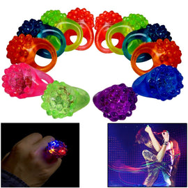 Dazzling Toys Light Up Rings | 24 Pack Flashing LED Light Up Toys, Bumpy Rings, 2 Dozen