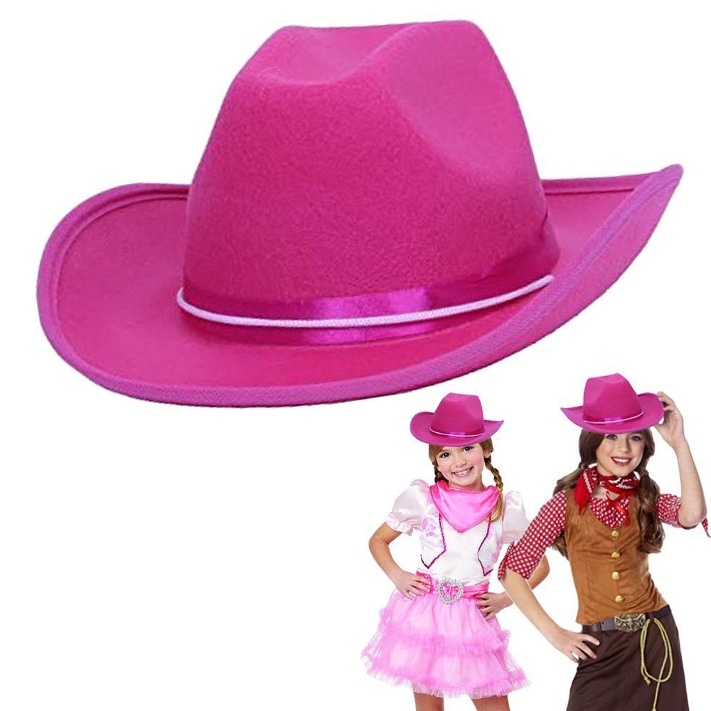 dazzling toys Cowgirl Pink Hat Child Country Pink Felt Costume Hat
