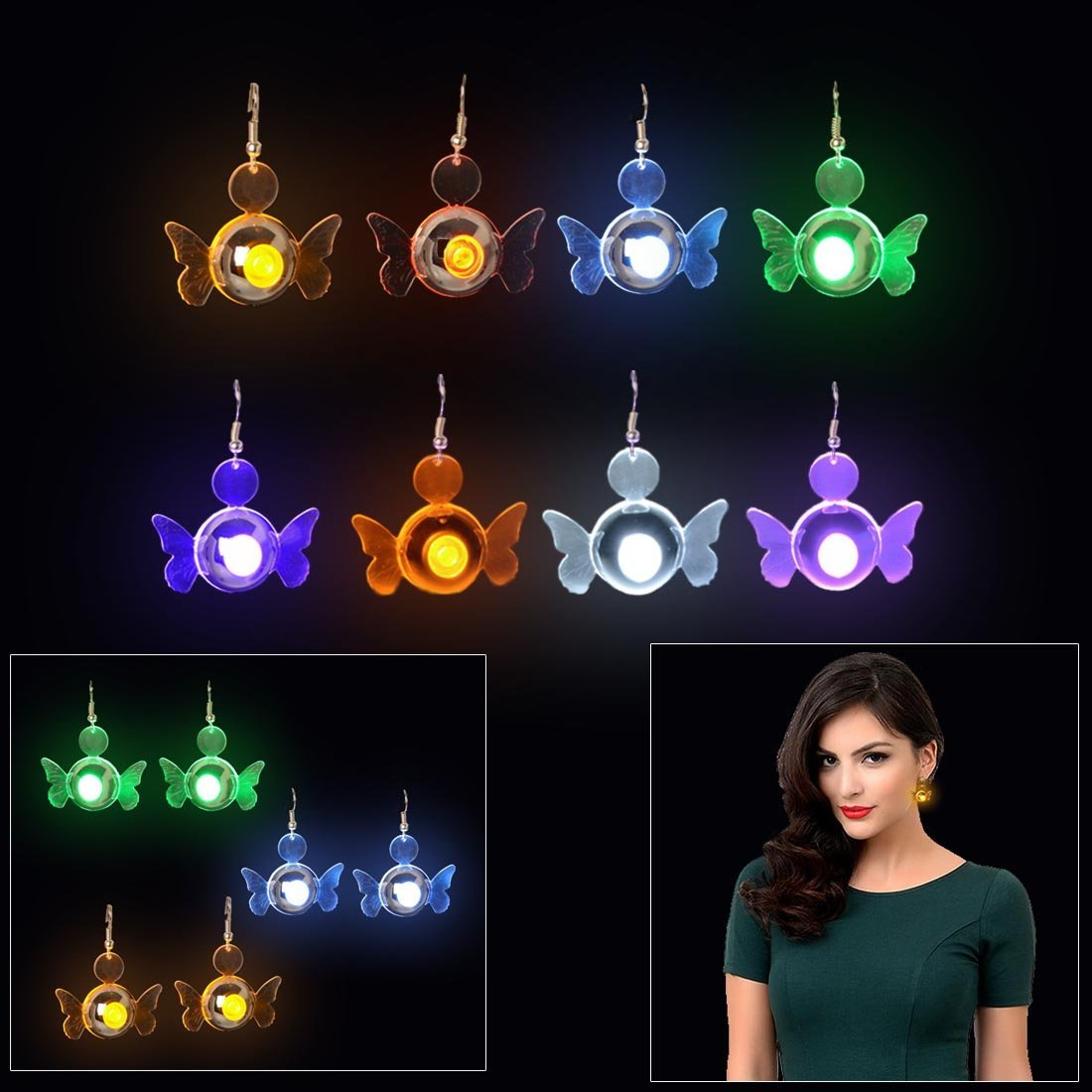 Dazzling Toys New GLOWING Angel LED Earrings 4 pairs/ 4 colors