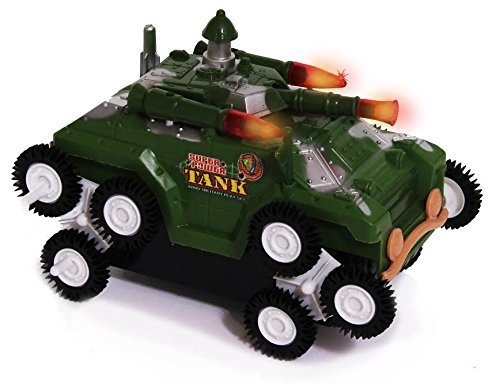 Toy Army Tank - Flashing Lights and Fighting Sounds - Battery Operated Military Battle Truck - By Dazzling Toys