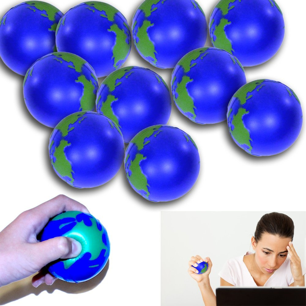 12 Pack Globe Stress Ball - Globe Stress Relief Activity Balls 12 Pack | Pressure Relieving Health Ball 12 PK | Therapeutic Relaxing Tension Release Squeeze Ball Set of 12 for All Ages