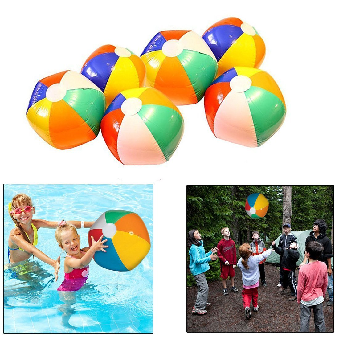 Inflatable Beach Balls - 12 Pack - Bright Rainbow Colored Pool Toys for Kids and Adults - By Dazzling Toys