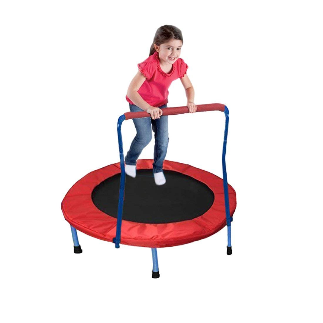 Dazzling Toys Mini Exercise Trampoline for Adults and Kids - with Safety Padded Frame- Indoor and Outdoor Fitness Rebounder with Handle Bar for Kids – Portable & Foldable 36