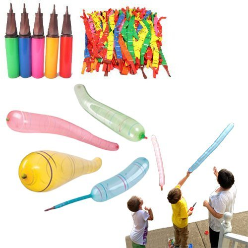 Rocket Balloons with Air Pump - Pack of 30 Flying Whistling Assorted Color Long Rocket Balloons Party Favor and Supply