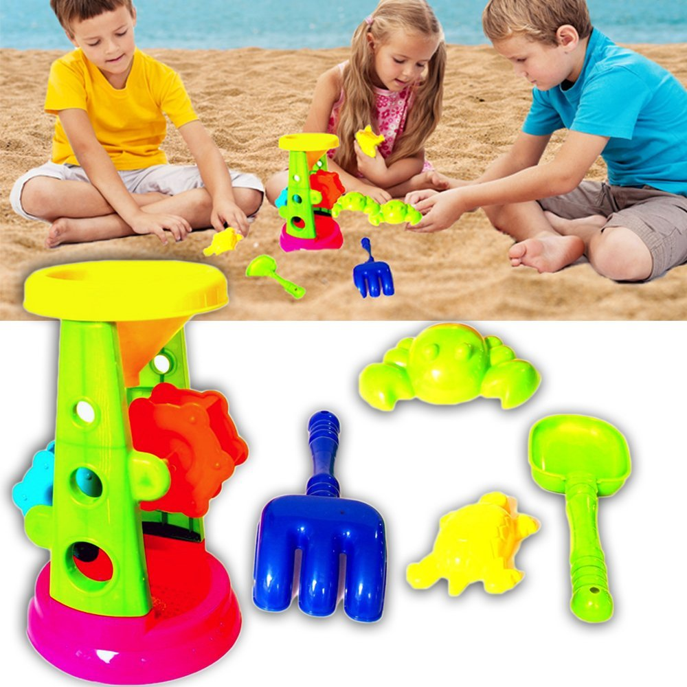 dazzling toys Beach / Sand Toy Set - Double Sand Wheel, Shovel, Rake, and Sea Critter Molds, 5 Piece Colorful Compact Kit, Perfect for Beach, Water, Sandbox or Sand Table, by