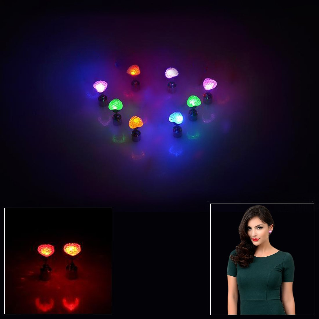 Valentine Earrings | Glowing Heart Shaped Led Earrings 4 pairs/ 4 colors | Dazzling Toys
