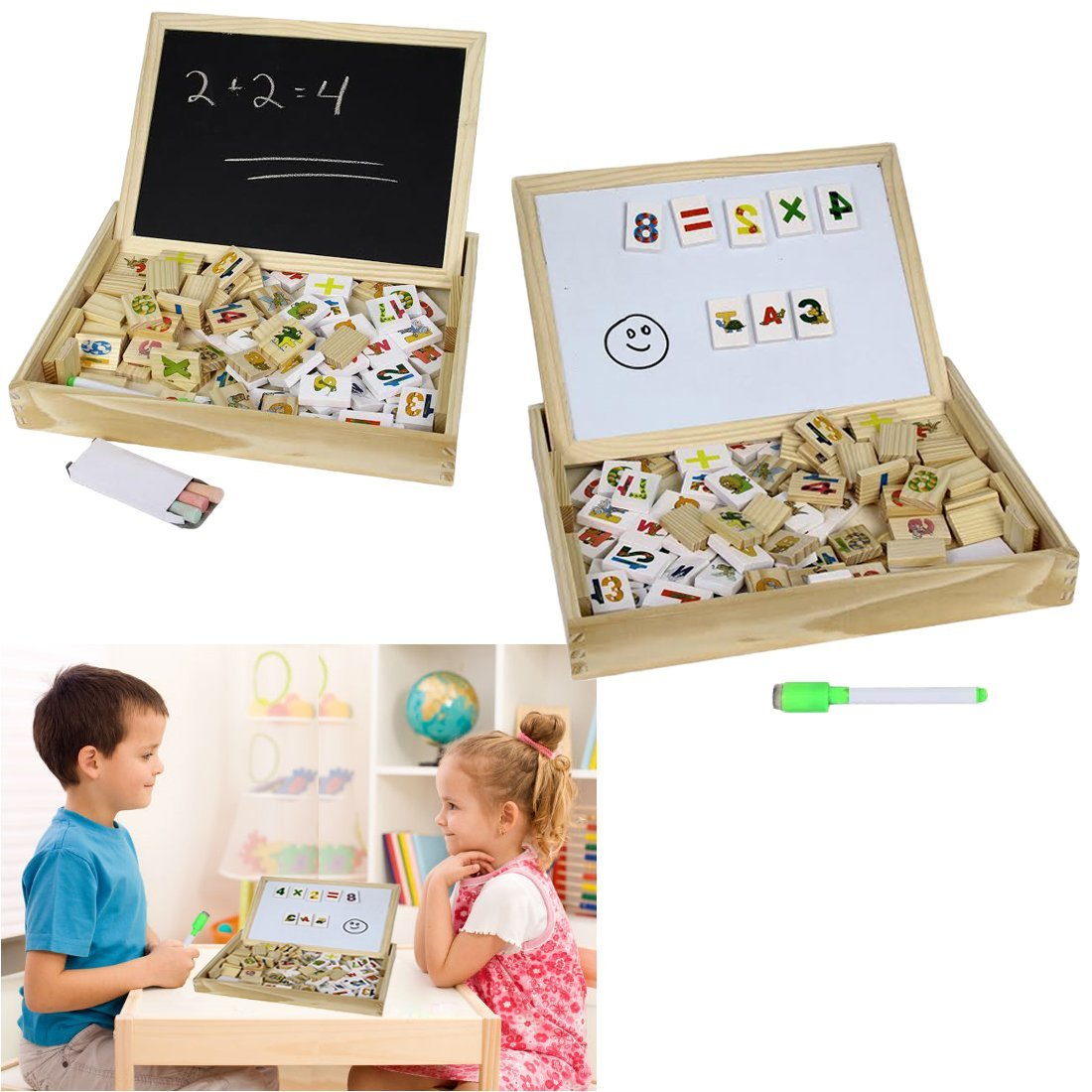 Wooden Alphabet Number Blocks With Case Magnetic White Board and Black Board