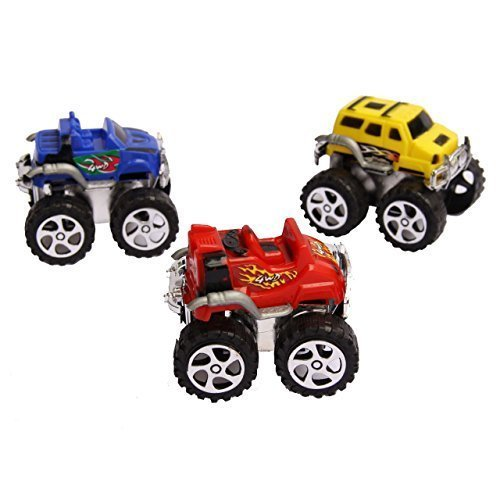 "36 Pack Toy Monster Trucks - Pull Back and Push Friction Toys - 2.3"" High Cars - Green, Orange, Purple and Red - By Dazzling Toys"