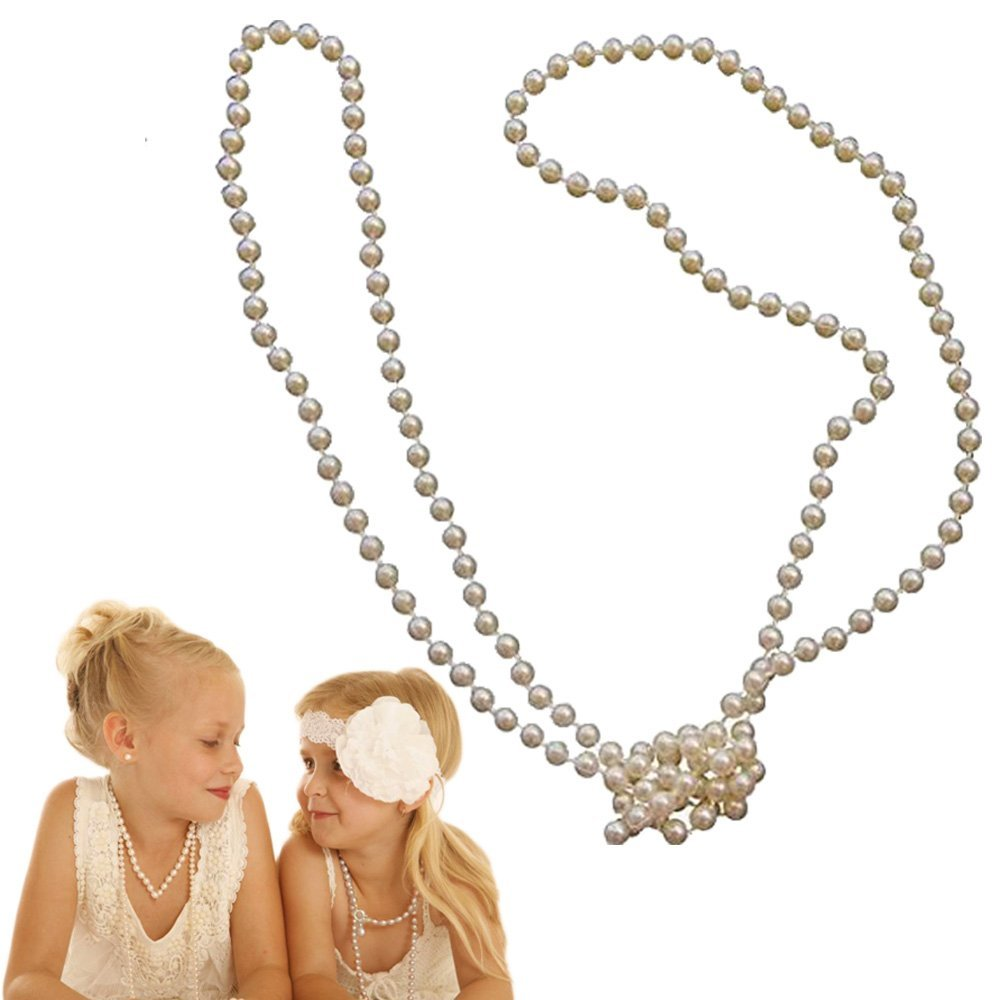 dazzling toys Faux Kids Girls Pearl Necklace | Pack of 12 White Pearl Party Accessory