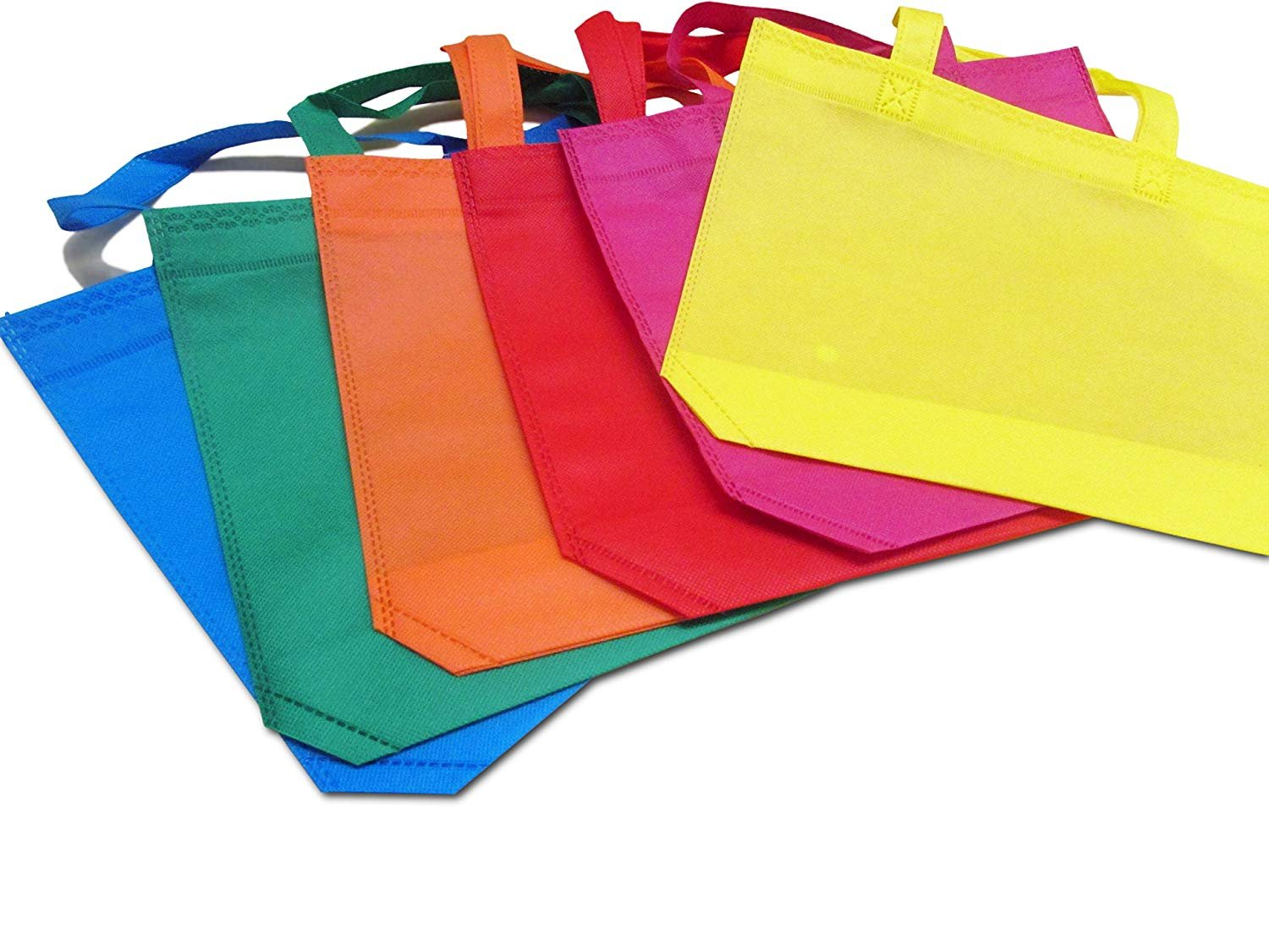 dazzling toys Party Favor Tote Gift Bags with Handles - Polyester Non-Woven Material, 12 Pack, Assorted Bright Colors - by
