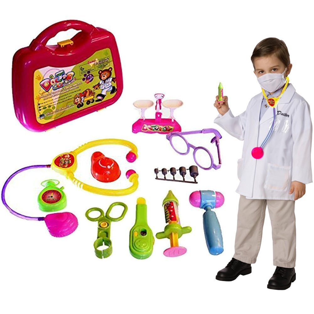 Dazzling Toys Doctor Nurse Medical Kit Playset 10 Pcs Kids Pretend Play Tool Set