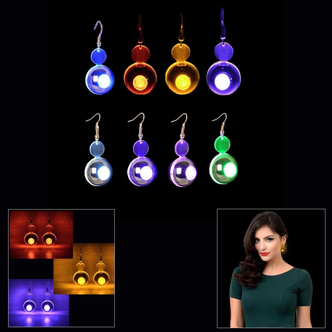 Dazzling Toys New GLOWING Big Round Shaped LED Earrings 4 pairs/ 4 colors