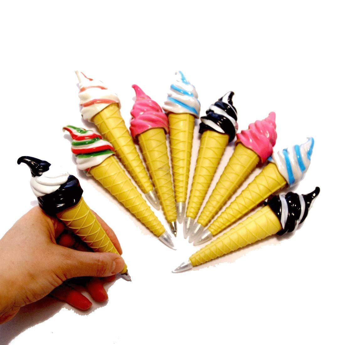 dazzling toys Assorted Magnetic Ice Cream Cone Writing Pens for Kids Pack of 6 - Cool Multicolor Pens for Kids Party Favor | Birthday Party Fun Novelty Pens 6 Pk. School Supplies for Ages 3 and Up