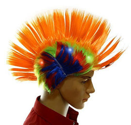 Dazzling Toys Wiggling Punk Blinking LED, Orange and Colored Wig. One per pack.