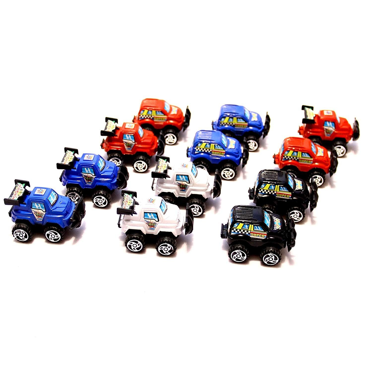 dazzling toys Mini Cars Pull Back & Let Go Race Cars 12 Pack | Assorted Car Colors: Red, White, Blue and Black, 3-4 Inch Cars | Easter Egg Filler