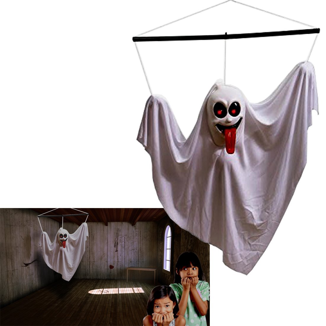 Hanging Ghost | Halloween Animated Shaking Ghost | Hanging Ghost Decoration | White  Shaking Ghost  with Sounds and Flashing Eyes | Dazzling Toys
