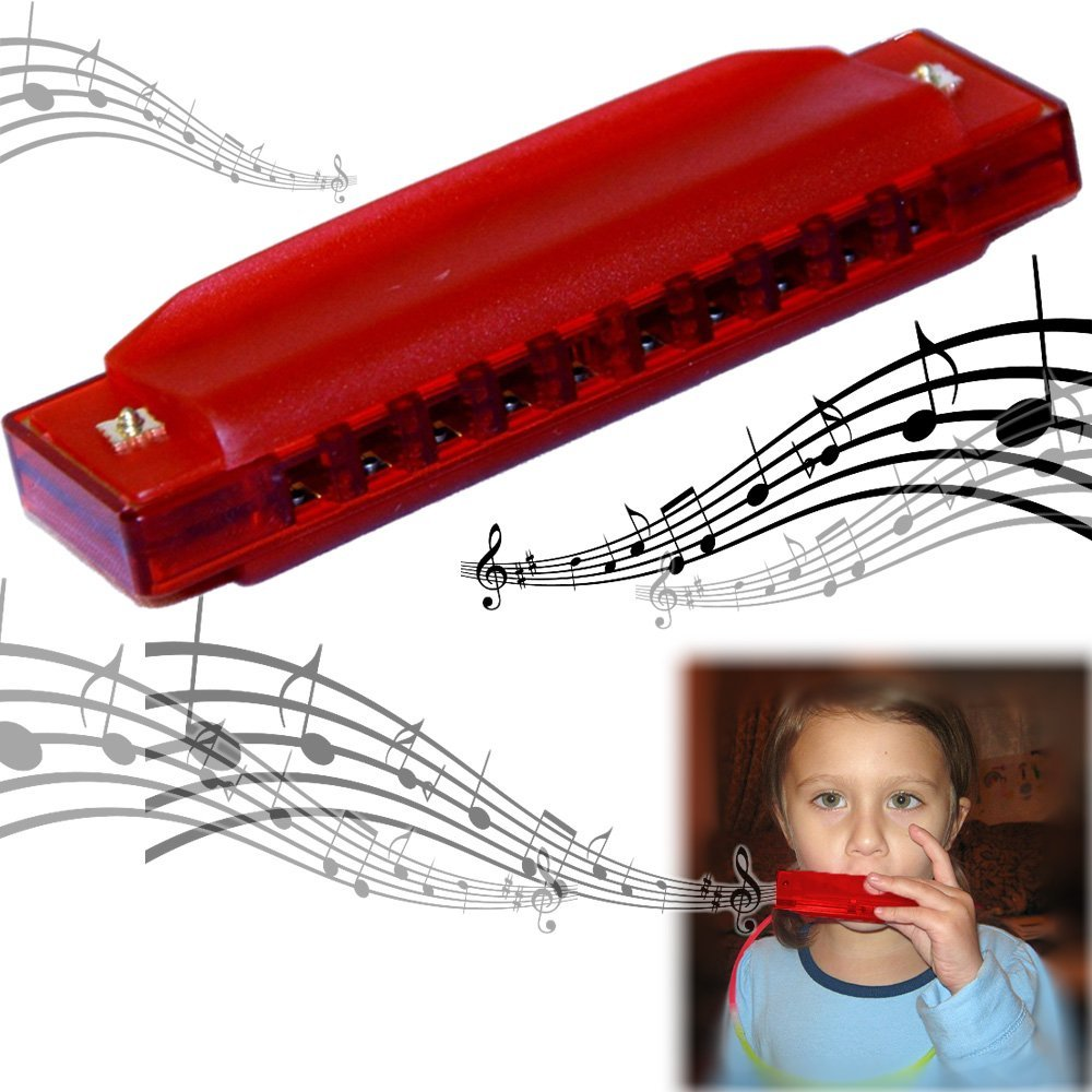 dazzling toys Translucent Harmonica - 2 Pack Set of Colorful 4 Starter Instruments for Kids Party | Holidays and Special Events - Top Quality Beginners Harmonica with Standard 10 Hole Structure - Ages 3 +, Red,