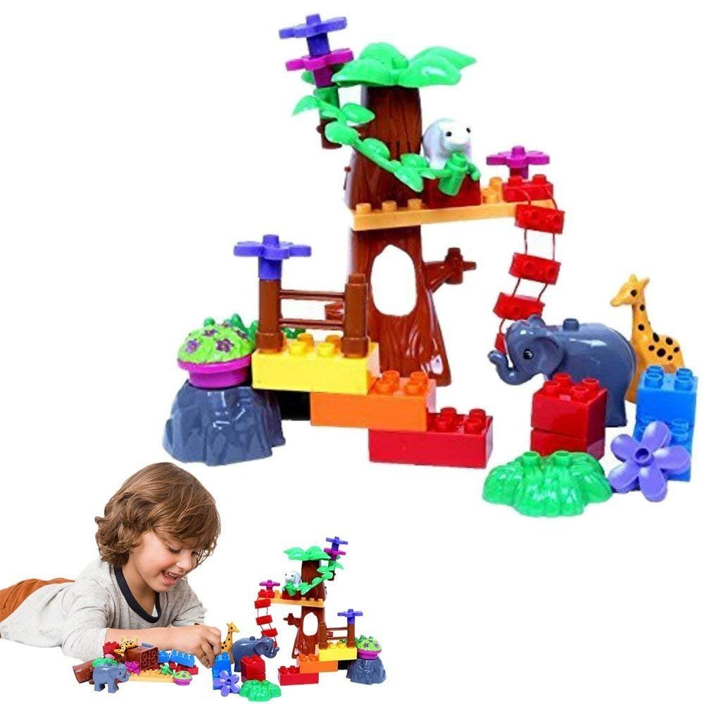 "Toy Zoo Kingdom Building Playset - Makes Animal Sounds - ""Build Your Own"" Play Set Includes Blocks, Animals, Trees, Flowers - Battery Operated - By Dazzling Toys"