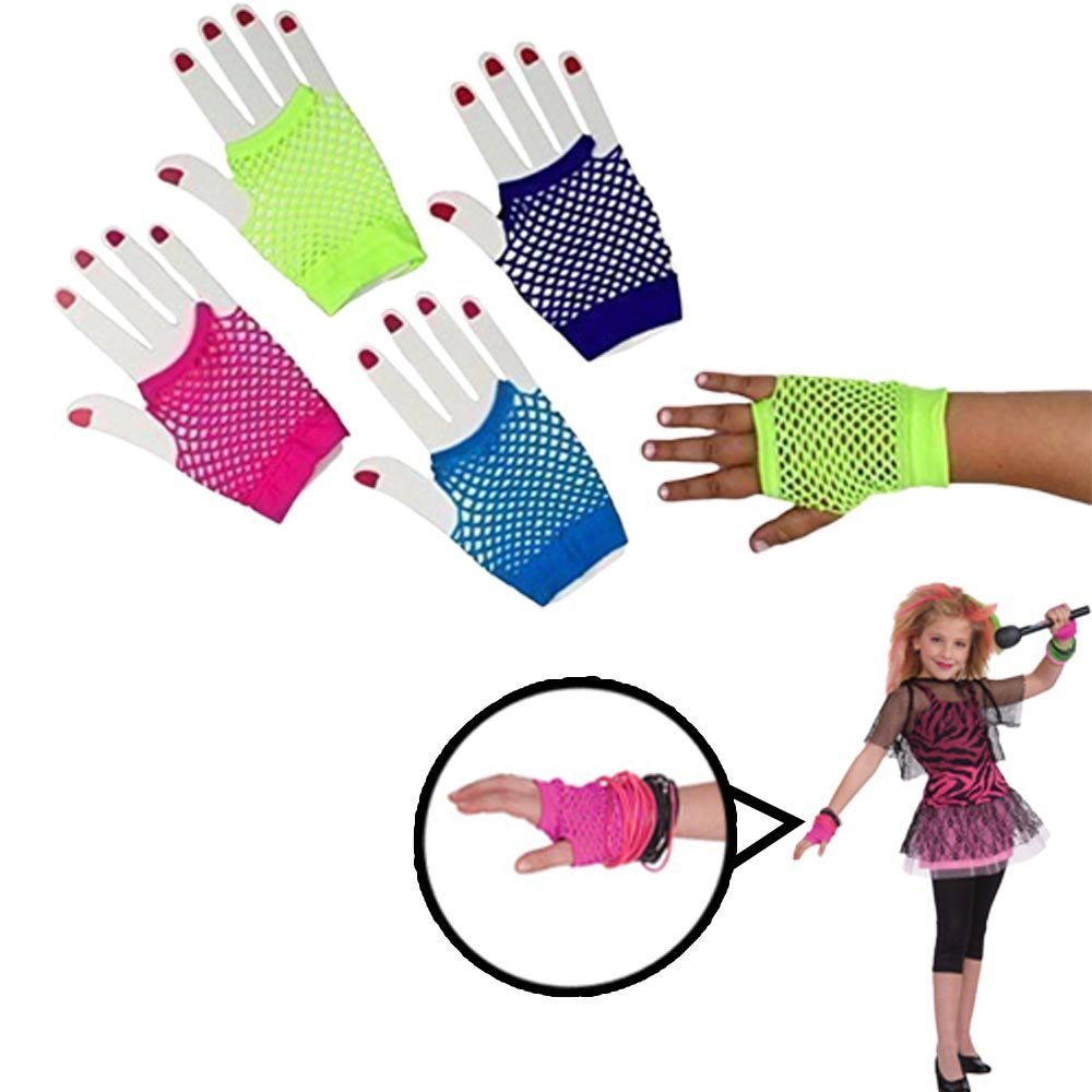 Fishnet Fingerless Wrist Gloves-12 Asstd Colors-Kids and Adults-Dazzling Toys
